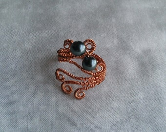 wire wrapped ring, swarovsky pearl ring, handmade ring , copper ring , handmade jewelry