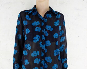 70s Sheer Chiffon Blouse   Japanese Vintage   Dark Navy Floral Print   Long Sleeve Novelty Print Shirt   Office Secretary Blouse   S