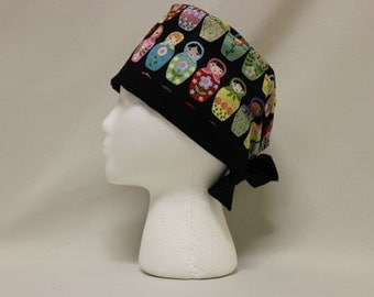 Matyroshka Russian Nesting Doll Surgical Scrub Cap Chemo Dentist Hat