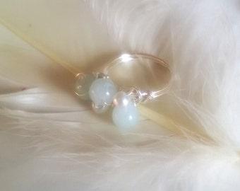 Aquamarine and glass pearl ring