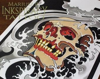 "Tattoo Print -""Mr Skull"" by Mariusz Romanowicz / art print,dark art,dark,gothic art,skull art,horror art"