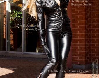 C + K leather pants, PVC pants, with long invisible side zippers for individual slit, very shiny and stretchy, new, handmade