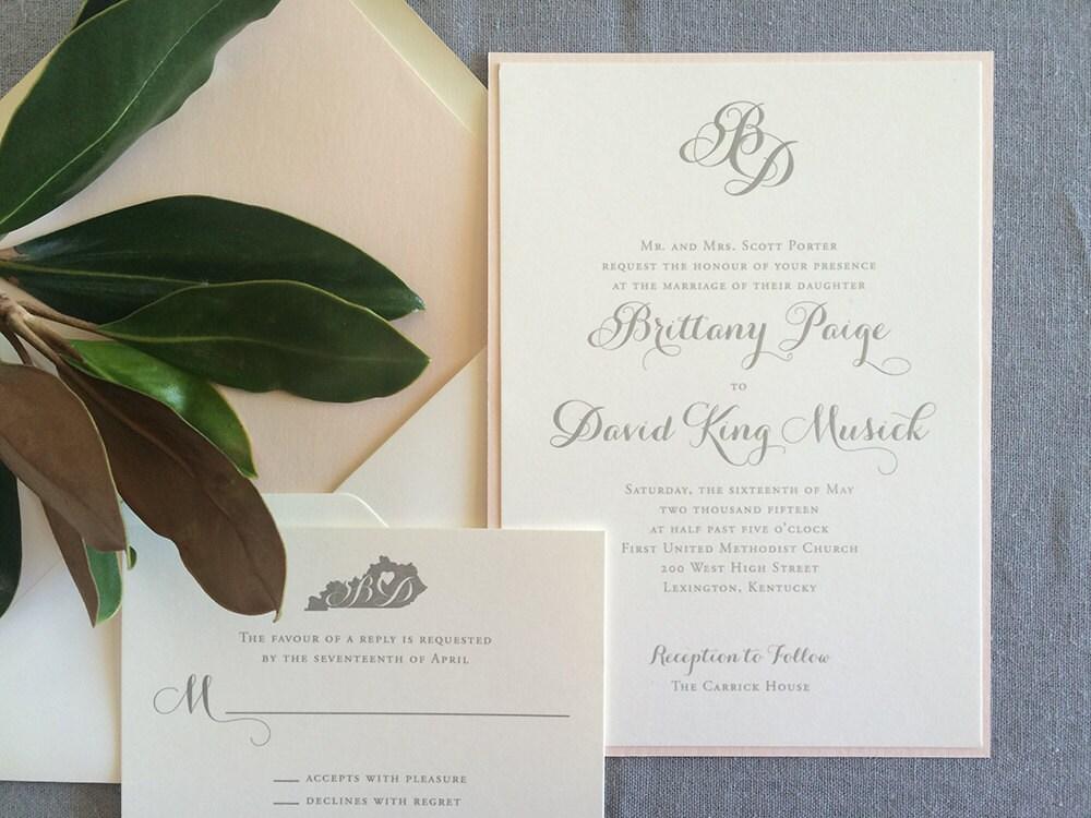 Initial Wedding Invitations: Monogram And Modern Calligraphy Wedding Invitation In Blush