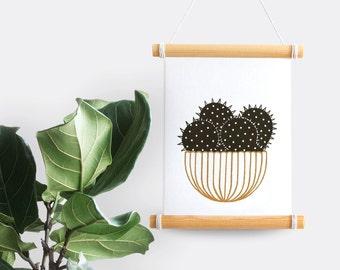 Cactus gold & black print (striped pot, A5 risograph)