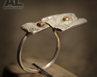 Ring - 925 solid sterling silver ring and stitching copper