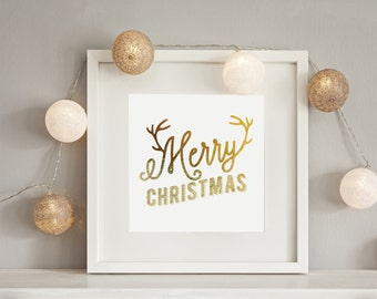 Merry Christmas Print, Real Gold Foil Print, Christmas Print, Christmas Decor, Nursery Decor, Holiday Sign, Gold Foil Art, Holiday Print