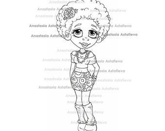 INSTANT DOWNLOAD Digital Digi Stamps Big Eye Big Head Dolls Beautiful girl African-American By Anastasia Astafieva