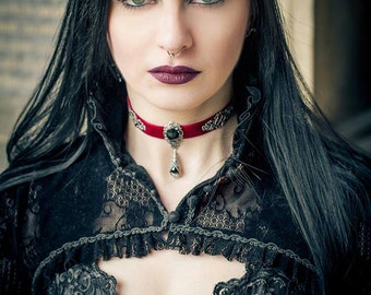 Burgundy red velvet gothic victorian choker with black agate gem