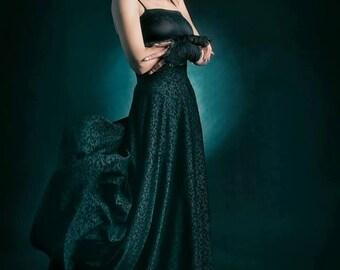 Black brocade long high waist skirt-gothic skirt-victorian skirt -brocade skirt-victorian clothes-gothic clothes-elegant skirt