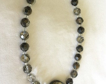 Metallic Crystal Necklace 18""