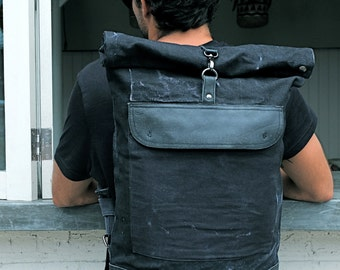 RUCKSACK in Waxed Canvas - BLACK Stonewashed