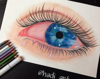 Crying Eye Art Print, 8x10, Colored Pencil Drawing