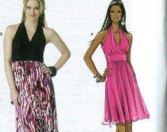 FREE US SHIP Butterick 5758 Maggy London Halter Dress Evening Length Size14/22 plus size Bust 36 38 40 42 44 Sewing Pattern New