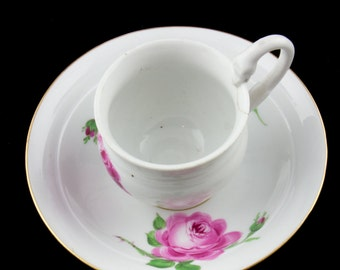 Antique Meissen Cup and Saucer Old Hand Painted German China