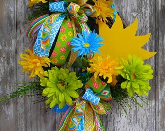 Sunshine Grapevine Wreath, Sunshine Wreath, Bright Wreath
