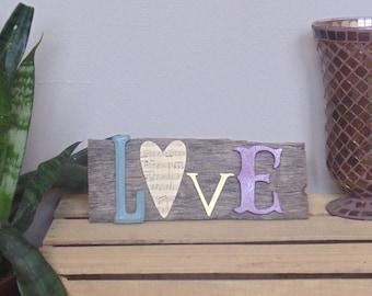 Barn wood wall art - LOVE