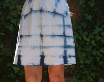 Shibori Sunshine Women's Skirts - Gorgeous handmade and hand dyed ladies indigo and white summer skirts, gathered elastic waist.