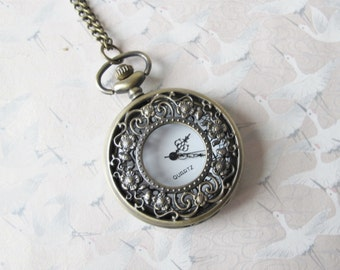 Pocket watch necklace flower fairy necklace, watch magical, fairytale jewelry necklace for man, woman necklace, gift for him, gift for her