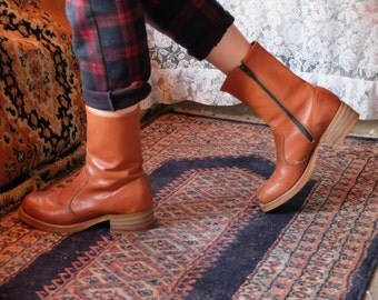 60s/70s Basswood Brown Leather Mid-Length Vintage Zip-Up Boots Booties Stacked Wood Heel
