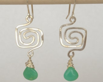 Square Spiral Chrysoprase Sterling Silver Earrings