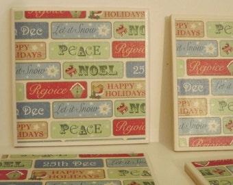 Coasters Christmas Decor Words of the Season!