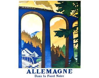 Allemagne France Vintage Travel Poster - Digital Download - Railroad Train Railway Travel Print Europe French - 0562