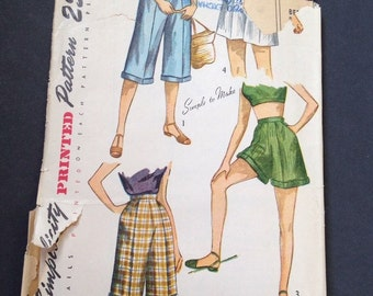 Simplicity 2853 Vintage Sewing Pattern Womens Shorts Pedal Pushers 1940s W 27