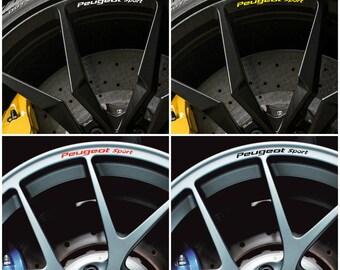 x8 Peugeot SPORT Rims Alloy Wheel Decals Stickers Graphics Kit 106 206 306 107 207 307 407 208 308 408 508 CC RCZ GTi Racing - All models