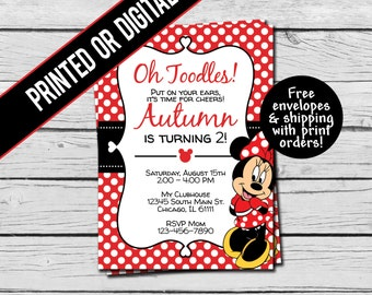 Printed or Digital File - Red Minnie Mouse Birthday Invitation