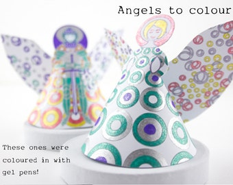 Christmas diy Paper Angels download, 2 Archangels to make and colour, Angel craft gift with labels to personalise for table, tree or mantel