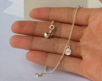 Silver Wire Anklet, sterling silver anklet, silver wire anklet with bell