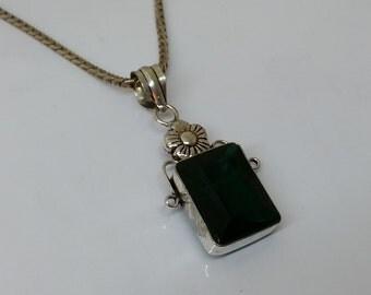 Pendant 925 Silver floral color stone green SK671