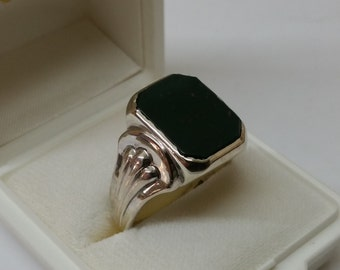 835 silver ring with Onyx 22 mm, size 12,5 silver ring SR392