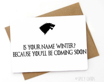 Funny  Game of thrones Card, Valentines Day Card, Love card, Card for boyfriend, Card for Girlfriend
