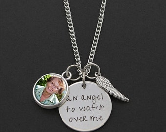 Custom Made With Your Photo! An Angel To Watch Over Me Memorial Necklace w/ Wing & Photo Charm
