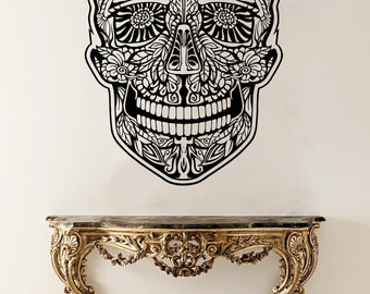 Sugar Skull Vinyl Sticker Sugar Skull Wall Decal Wall Vinyl Decals Wall Vinyl Decor /7lta/