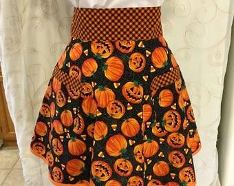 Halloween Apron, Pumpkin Apron, Orange, Black, Pumpkins