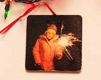 Square Wood Photo Ornament