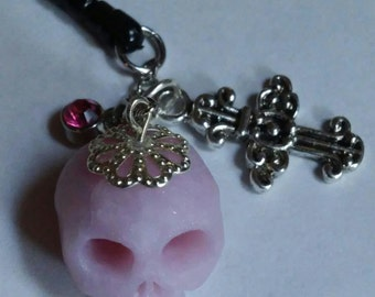 Pink Skull Cell Phone Charm