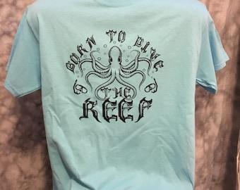 Snorkeling ocean reef shirt with vintage octopus