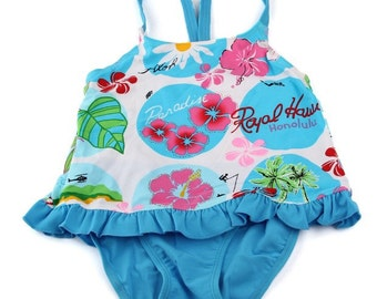 1 PCS New Baby/ Swimsuit Bikini/ Swim  Blue Red flowers Costume/ Swimwear Bathing Suit Maillot De Bain Costume