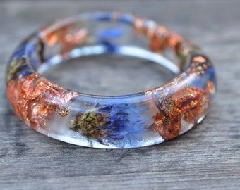 Resin Bracelet, Real Cornflowers, Resin with Real Flowers,Bangle,Wristband, Botanical Jewelry,Accessory, Clear Resin Jewelry, Bangle