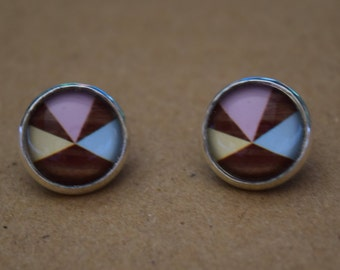 Pinwheel glass dome stud earrings. 14mm with surgical steel and nickel free posts