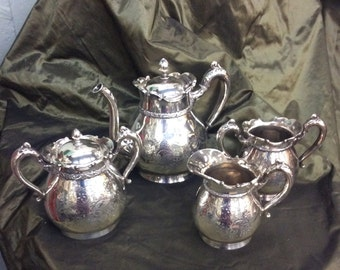 Rogers-Smith pattern 200L American Antique Quadruple Silver Plate Four-piece Tea Set c 1880, Made in Meridan, Connecticut