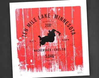 Ten Mile Lake, Screen Printed Poster, Ten Mile Lake Print, Lake Print, Minnesota Poster, Lake Life, Minnesota Lake, Hackensack, Stats Poster