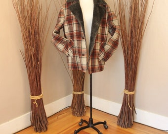 Vintage 1950s Towncraft Wool Plaid Car Coat with Sherpa Collar