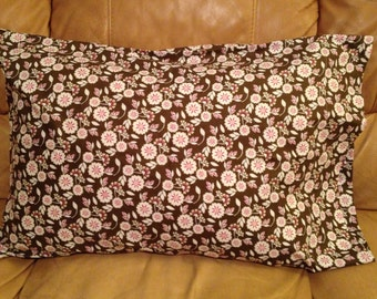 Pink and Brown flower pillow case