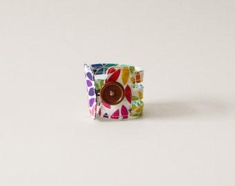 colorful leaf cuff bracelet, fabric bracelet, leafs cuff bracelet, fabric jewelry,