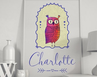 Printable-Custom-Personalized Name-Nursery-Fairy tale-Fantasy-Magic Cap-Floral-Dream-Letter-Birds-Cute Owl in frame-Your custom Name-No.524