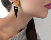 Triangle Earrings, Geometric Acrylic Earrings, Black, Gold Perspex Jewellery, Design by ENNA